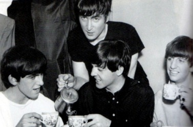 The Beatles drinking tea. My Remembrance Day Chat with John Lennon, Part 2. www.soulfultraveler.com.