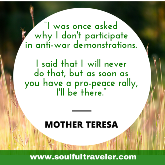"""I was once asked why I don't participate in anti-war demonstrations. I said that I will never do that, but as soon as you have a pro-peace rally, I'll be there."" Mother Teresa. My Remembrance Day Chat with John Lennon, Part 2. www.soulfultraveler.com."